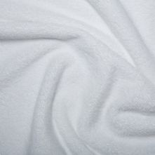 Half Price White Deep Pile Luxury Cotton Towelling Fabric 150cm Wide x 0.5m